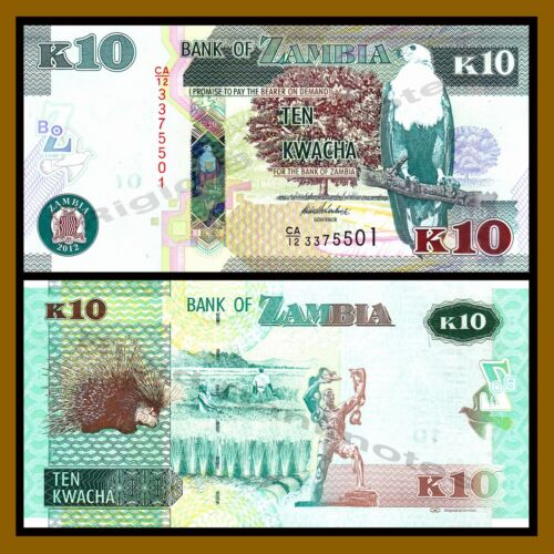 2012 P-49-53 African Fish Eagle Unc 5 Pcs Set Zambia 2 5 10 20 50 Kwacha