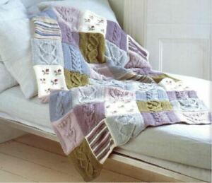 EMailed-Knitting-Pattern-for-Fab-Cotton-DK-Patchwork-Throw-Blanket-PDF-Emailed