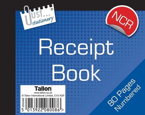 6 x Half Size Duplicate Receipt Book Numbered Cash 1-80 NO CARBON REQD-8008