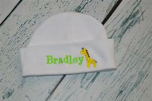 2c3859e613a9e Image is loading PERSONALIZED-Baby-Hat-Monogram-Giraffe-Embroidered-Newborn -Boy-