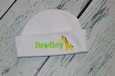 Monogram Giraffe Embroidered Newborn Boy Girl Beanie Cap PERSONALIZED Baby Hat