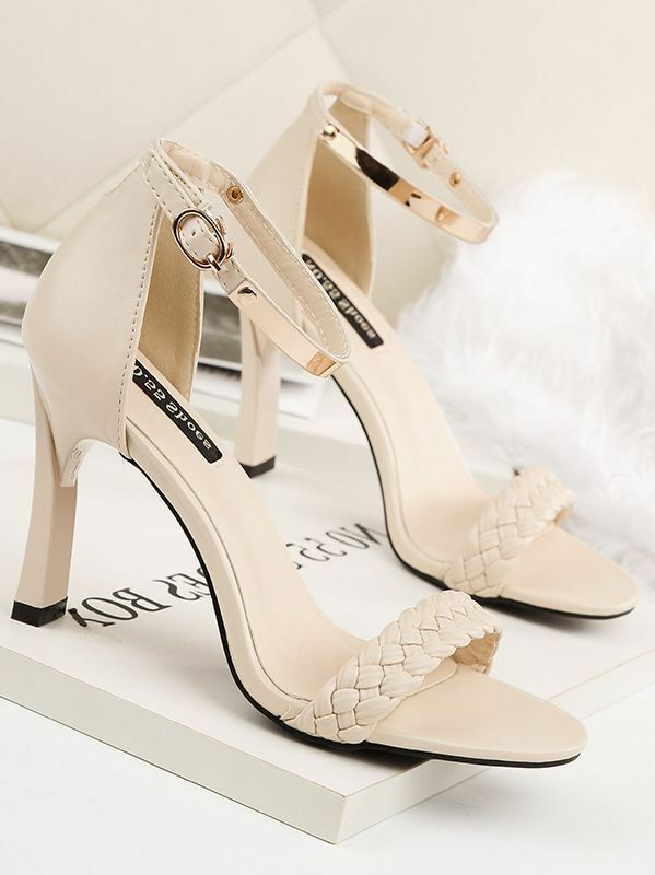 Sandale stiletto eleganti  9.5 cm panna simil pelle simil pelle eleganti 8580