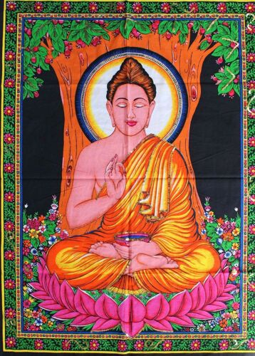 "Huge Wall Hanging decor Cotton Fabric BUDDHA 43/"" X 30/"" Tapestry Poster size"