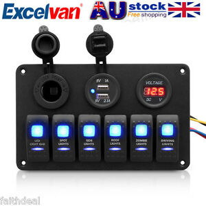 12V-24V-6-Gang-Boat-Marine-Rocker-Switch-Panel-2USB-Cigarette-Circuit-Breaker-AU