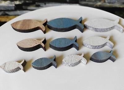 12  x Holz Fische Ichthys Fisch Holzfische Tischdekoration Deko Glück Glauben
