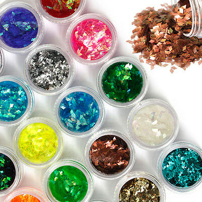 Beauty 18 Color Nail Art Big Rhombus Glitter Shiny Decor For Nail Art System Tip