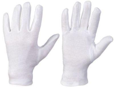 1 Paar Elastisc Baumwollhandschuhe Stoffhandschuhe Trikothandschuhe Weiß