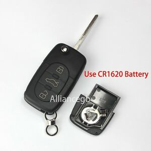 replace flip key shell fob for audi a6 a4 tt with cr1620. Black Bedroom Furniture Sets. Home Design Ideas