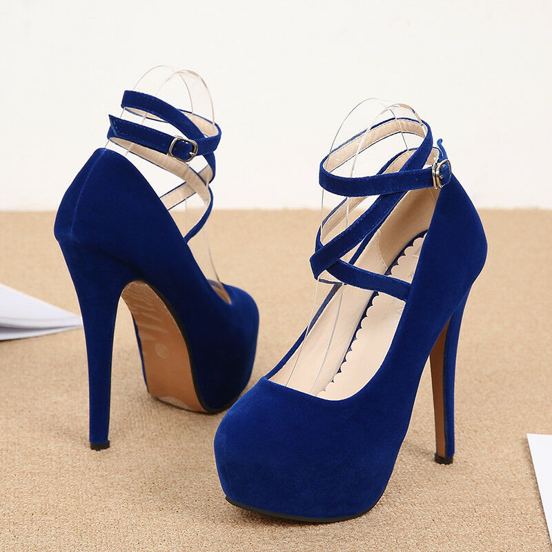 Women High Heels Platform Round Toe Buckle Ankle Pumps Stiletto Mary Jane shoes