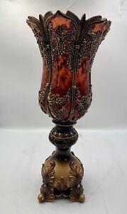 OK Lighting Decorative Resin Vase, Ruby Red  - Ornate Floral Pedestal Vase- EXC.