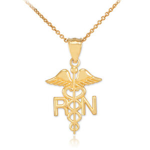 14k White Gold Registered Nurse Pendant