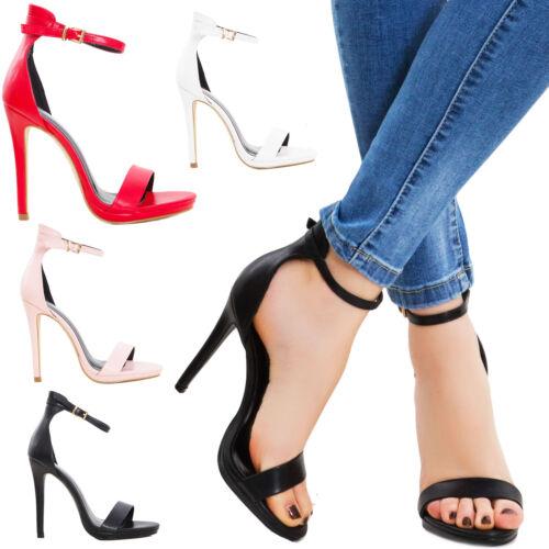 Scarpe donna saldali ecopelle cinturino tacchi alti eleganti nuovi K2L1029-9
