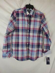 Chaps-Ralph-Lauren-Women-039-s-Medium-Plaid-Long-Sleeve-Button-Up-Shirt-New-with-Tag