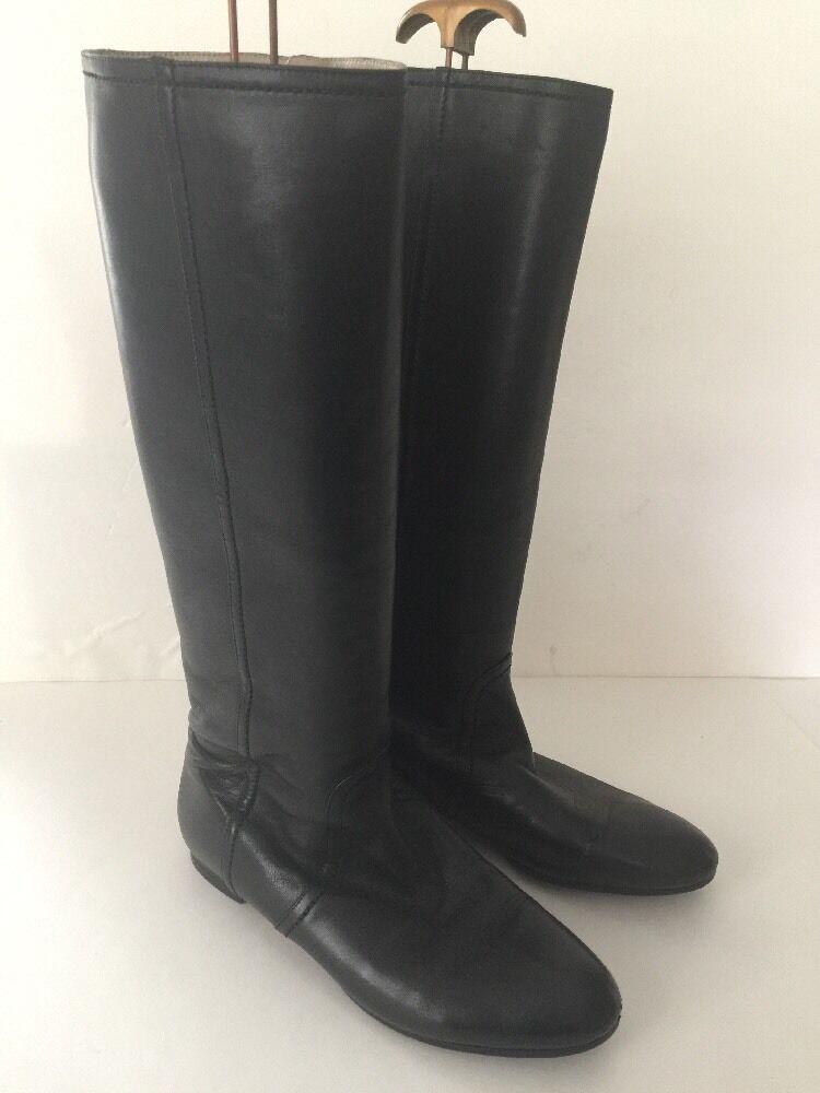 VALENTINO GARAVANI black leather knee high boots riding  39.5 US 9-9-1 2