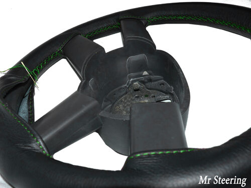 BLACK LEATHER STEERING WHEEL COVER FOR CITROEN DISPATCH I 1994-2006 GREEN STITCH