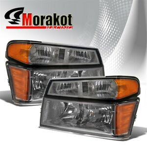 For 04-12 Chevy Colorado Smoke Headlights Bumper Amber Corner Reflector Lamps