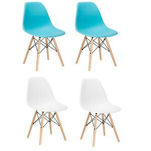 Enjoyable Details About 2 White Aqua Eiffel Plastic Shell Dining Side Chairs Wood Dowel Legs Eames Style Gmtry Best Dining Table And Chair Ideas Images Gmtryco