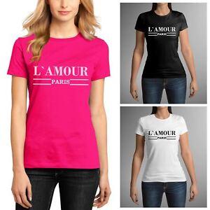 60d977e5 Ladies L'amour Paris Slogan Short Sleeve Womens Printed Round Neck ...