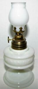 Miniature-IMPROVED-BANNER-Antique-Opaque-White-Glass-Oil-Kerosene-Lamp-Complete