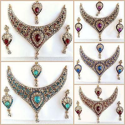 Bollywood Style Designer Indian Jewelry Gold Necklace Ethnic Wedding Bridal Set