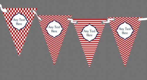 Rouge et blanc rayures chevrons et vérifier Personnalisé Fête D/'Anniversaire bunting