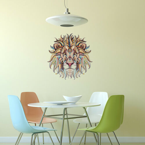Bright-Coloured Lion Head Art Wall Sticker for Family Decorl Room Decoration