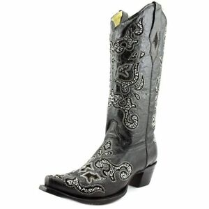 CORRAL-Women-039-s-A1192-Inlay-and-Crystals-Black-Western-Boot