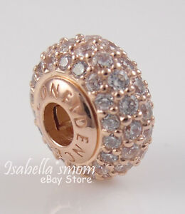 aa01ba194 Image is loading Essence-CONFIDENCE-Genuine-PANDORA-Rose-GOLD-Plated-Clear-