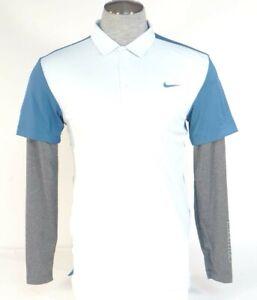 Nike-Golf-Sport-Dri-Fit-Slim-Fit-Blue-Layered-Sleeve-Polo-Shirt-Men-039-s-NWT