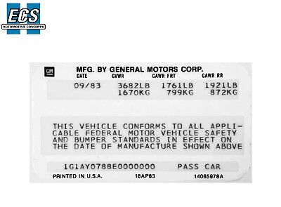 Regal Grand National 1987 Buick GM VIN Door Decal Sticker Date /& VIN Printed