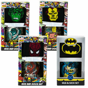 MARVEL-Comics-Tazza-E-Calzini-Set-Iron-Man-Hulk-Batman-Spider-Man-Novita-regali