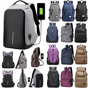 Laptop-Rucksack-Schultasche-Reise-Schultertasche-Brustpackung-USB-Port-Rucksack