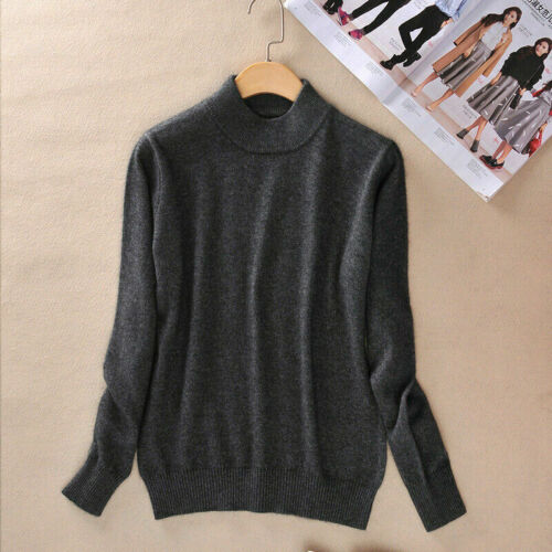 Slim Knitted Half-Turtleneck Cashmere wool Jumper Pullover Soft Sweater Women/'s