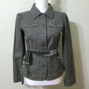 LOFT-Classic-Jacket-Green-Size-2-Women-039-s-XS-Cotton-Canvas-Velvet-Trim