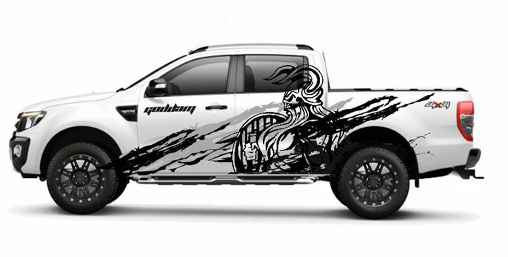 Details About Matt Matte Black Viking Wild Design Sticker For Ford Ranger T6 12 13 14
