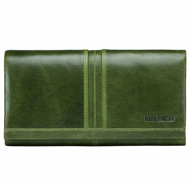 Women's Genuine Leather Long Wallet RFID Cowhide Money Card Holder Clutch Purse