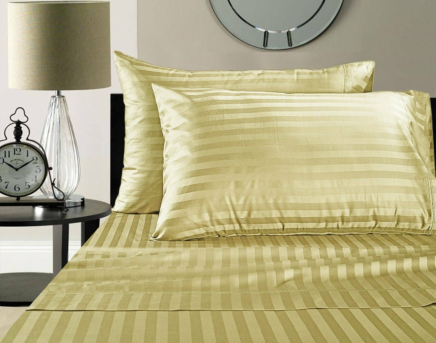 500 Thread Count Damask Stripe Egyptian Cotton Sheet Set Gelb Queen   King