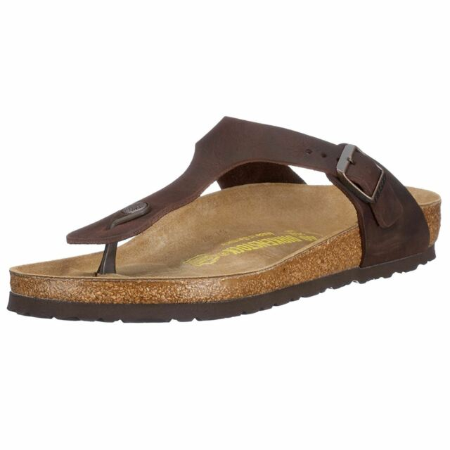 Birkenstock Gizeh Habana Womens Leather Toe-post Casual Thong Summer Sandals 14d5619e6f