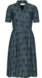 Seasalt Crashing Waves Denim Dress, Blue, Button Up, Pockets, Size 12