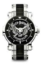 Harley-Davidson® Bulova Men's Winged Skull Stainless Steel Wrist-Watch 78A109