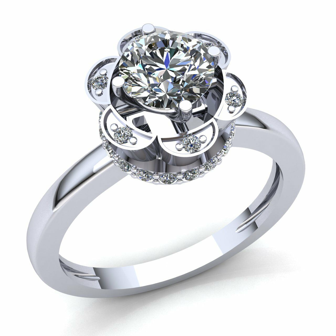 Natural 1ct Round Cut Diamond Ladies Halo Solitaire Engagement Ring 10K gold
