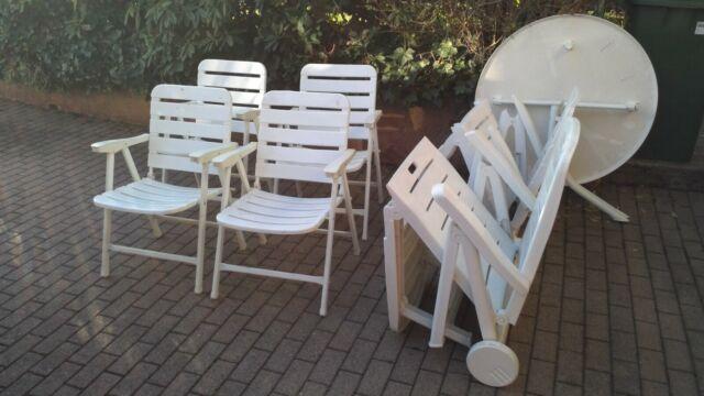 Sitzgruppe Balkonmöbel Gartenmöbel Set Weiß 4 Stühle 1 Tisch 2 Liegen