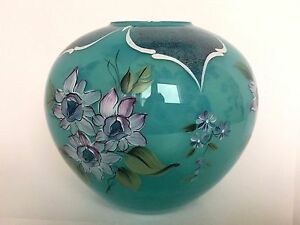 Fenton Art Glass Victorian Roses on Persian Blue Opalescent Lim Ed Signed 1993