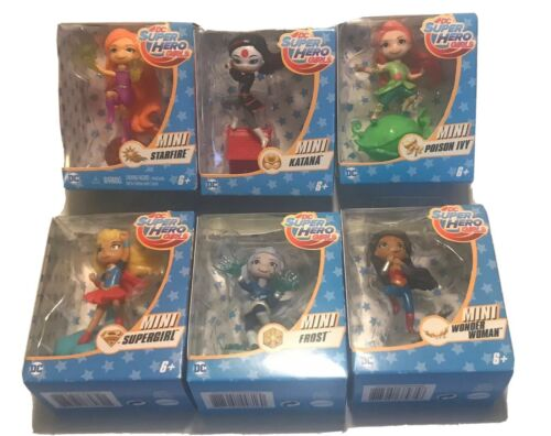 "DC Super Hero Filles Mini Figurine Collectibles 3/"" Set 6 Super Girl /& plus"