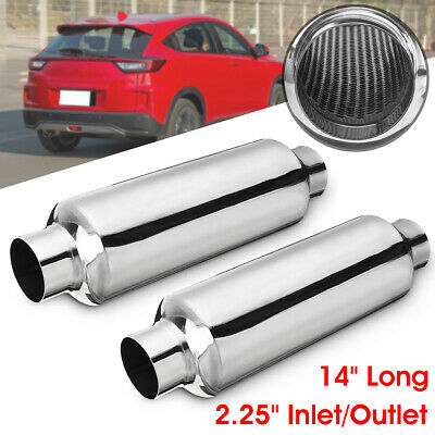 2x 2Inch Inllet//Out Universal Car Exhaust Turbine Muffler Resonator 12/'/' Overall