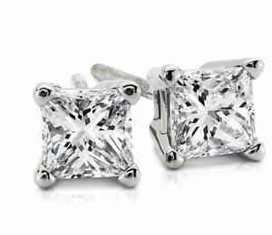 1CT Brilliant Princess Cut 14K White Gold ScrewBack Stud Earrings