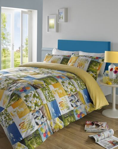 Girls Summer Vibes Yellow Patchwork Duvet Cover Set by # Hashtag Bedding