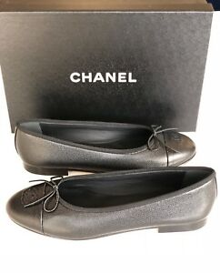 selezione migliore ce992 d66a5 Details about 2018 CHANEL BLACK GRAINED LEATHER CAVIAR BALLET BALLERINA  FLAT FLATS SHOES 36