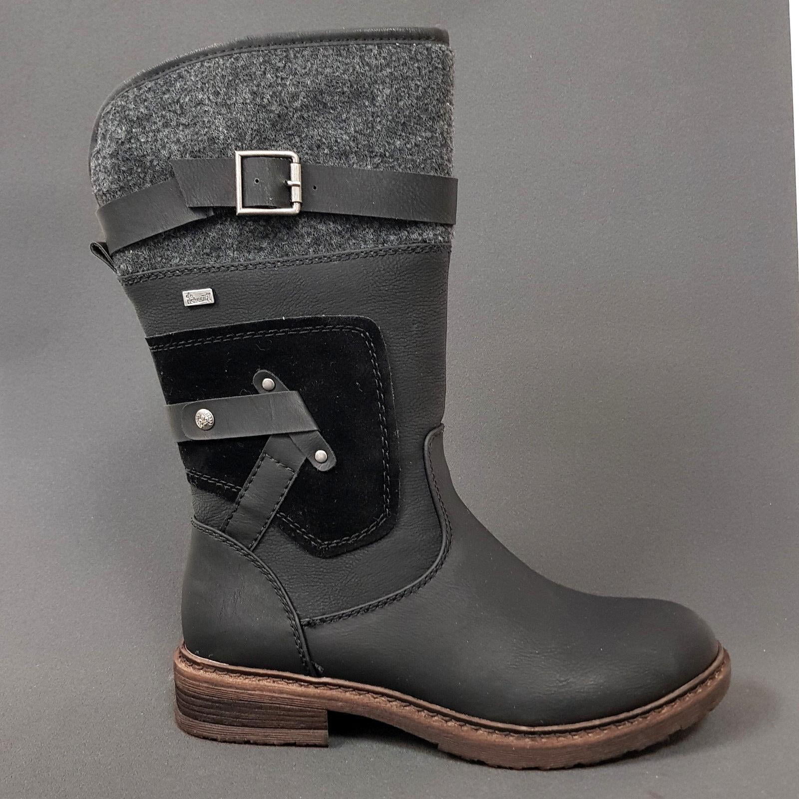 Rieker señora Lang caña botas botas botas botines 94761-00 negro tex nuevo hasta tamaño 43  ¡No dudes! ¡Compra ahora!