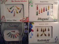 4 Pack Diamante Bindis-Stick On Bollywood Indian Body Art Tattoo Jewel Mixed 3